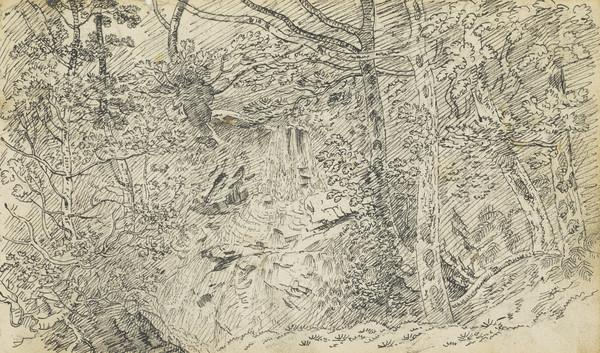 Waterfall in Woodland Setting, possibly Falls of Falloch [Verso: Sketches of Landscapes]