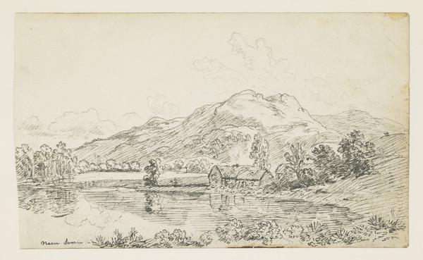 Mountain Landscape with Croft by a River [Verso: Four Thumbnail Sketches]
