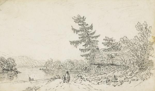 Croft Beside a Highland Loch, with Figures [Verso: Sketch of a Highland Landscape with a Castle in a Loch]