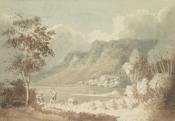 Highland Landscape with Loch, with Birchtree and Two Figures