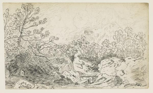 Highland Landscape with Mountainous Background [Verso: Thumbnail of Landscape]
