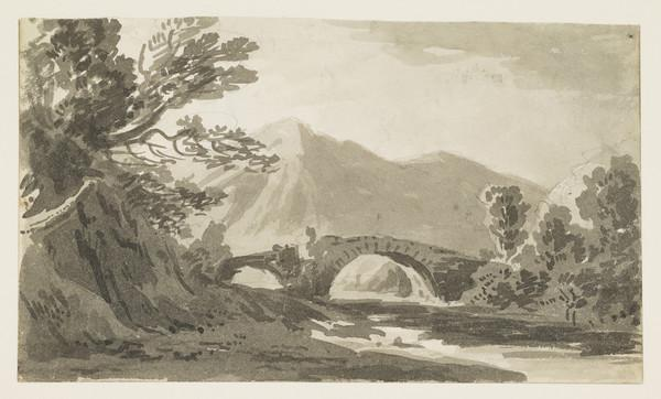 Highland Landscape with Double Arched Stone Bridge over a Stream [Verso: Sketches of Architecture]