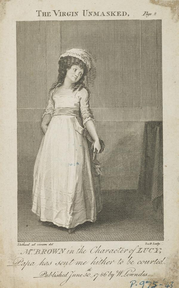 Mrs Brown as Lucy in 'The Virgin Unmasked' (Dated 1786)