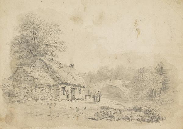 Landscape with Thatched Cottage, Bridge and Figures