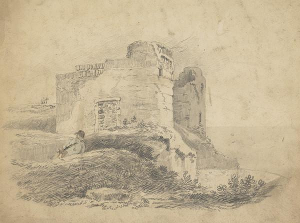 Ruined Castle by Loch with Reclining Figure in Foreground