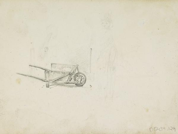 Sinking Boat on the Clyde Being Rescued [Verso: Wheelbarrow and Faint Figure Sketch]