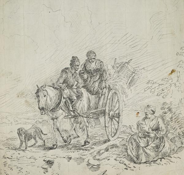 Rustic Scene with Woman and Child, Couple in Horse-drawn Cart and Dog