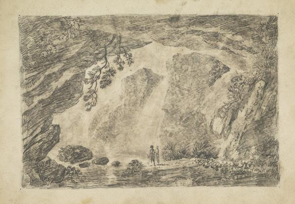 Rocky Landscape with Waterfall and Two Figures
