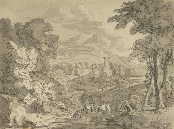 Classical Landscape with Sheperds and Cattle