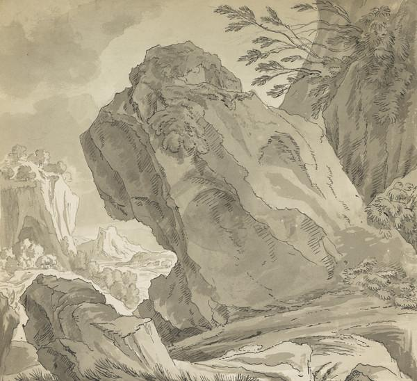 Landscape with Large Rock in Foreground