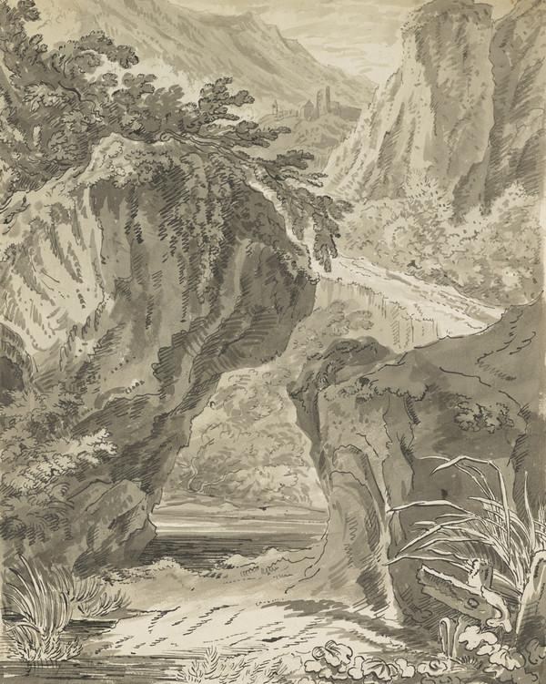 Landscape with Brook Seen through Rock Formation