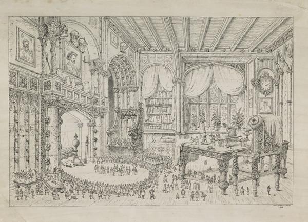 Lilliputian Figures in a Baronial Interior (1855)
