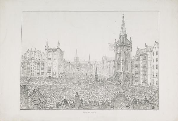 Every Body For Ever! (an invented cityscape featuring buildings from various cities, including Edinburgh, and a large crowd) (Published 1854)