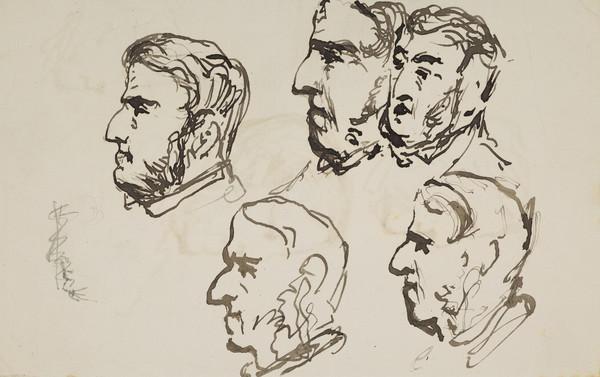 [Unidentified man] (Recto: five head studies. Verso: three head studies) (19th century)