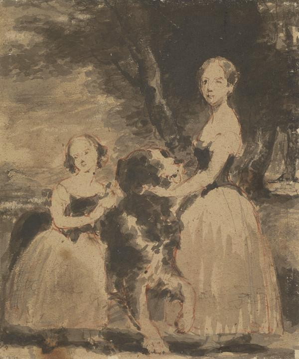 [Two unidentified girls] (With a large dog) (19th century)