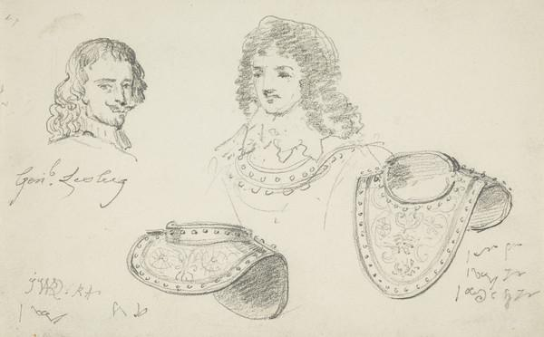 Studies of David Leslie and of a Breastplate, 1st Lord Newark, d. 1682. Royalist general (1820s)