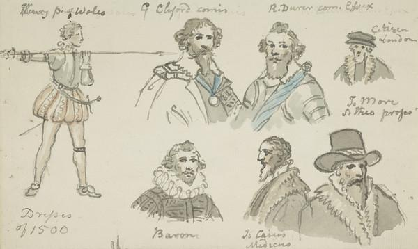 Historical costume studies. Seven figures on a single sheet
