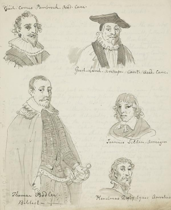 Historical costume studies. Five figures on a single sheet