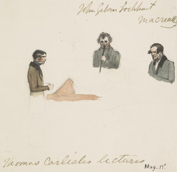 Thomas Carlyle, 1795 - 1881, lecturing with John Gibson Lockhart, 1794 - 1854, in the audience (About 1840)