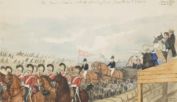 Queen Victoria, 1819 - 1901 and Prince Albert, 1819 - 1861, leaving Granton harbour in procession for Edinburgh (Dated 1842)