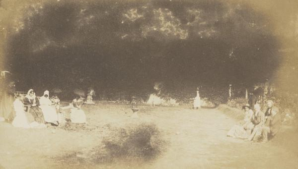 The garden at Bonaly. The group on the left includes John Henning and Mrs Cockburn, on the right Lord Cockburn and James Nasmyth [Landscape 4] (1843 - 1847)