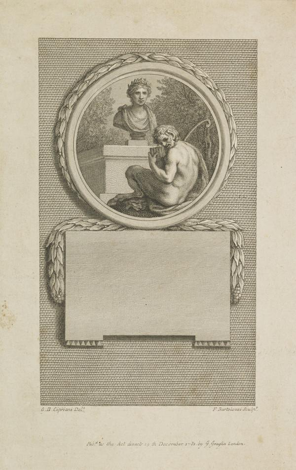 Pan playing pipes before a bust of Martial (Published 1783)