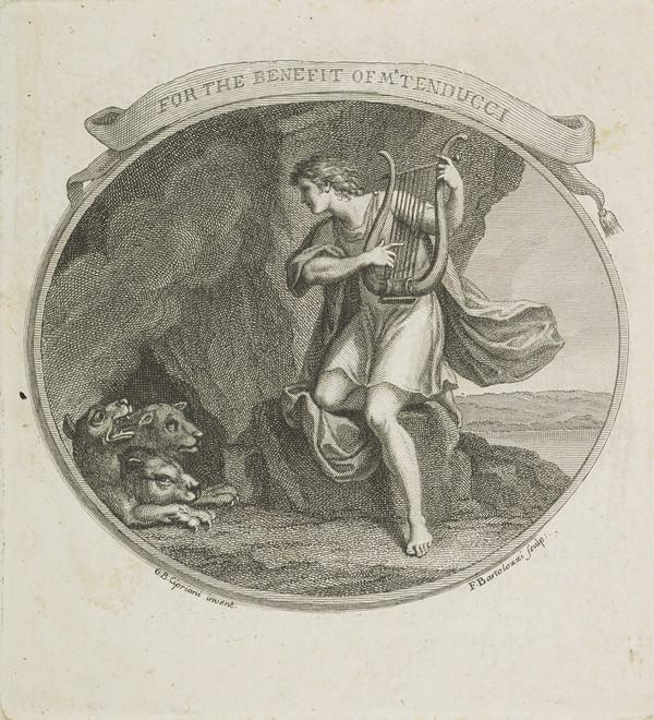 Orpheus in the underworld playing to Cerberus