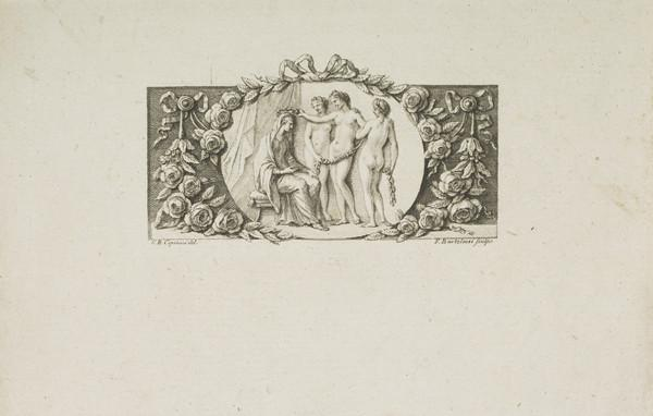 Three graces crowning a seated female figure (Venus and the Graces)