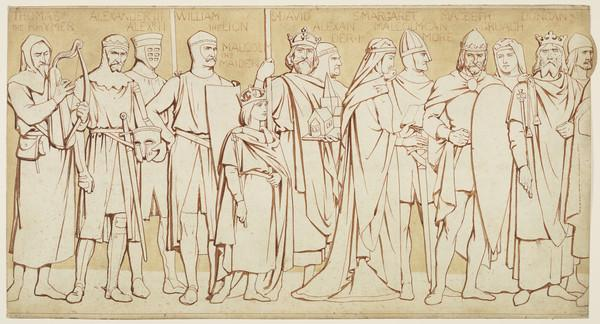Scottish National Portrait Gallery; cartoons for processional frieze (From Thomas the Rhymer to Duncan I) (Drawn c 1898)
