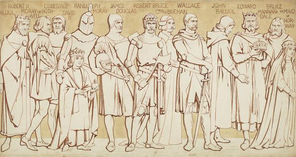 Scottish National Portrait Gallery; cartoons for processional frieze (From Robert II to Margaret, Queen of Scots) (Drawn c 1898)