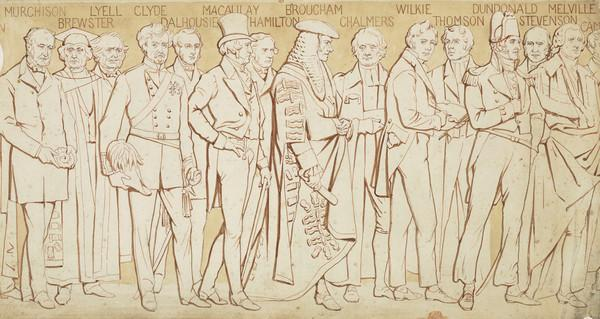 Scottish National Portrait Gallery; cartoons for processional frieze (From Murchison to Thomas Campbell) (Drawn c 1898)