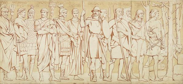 Cartoon for processional frieze (Septimius Severus to Stone Age), Scottish National Portrait Gallery