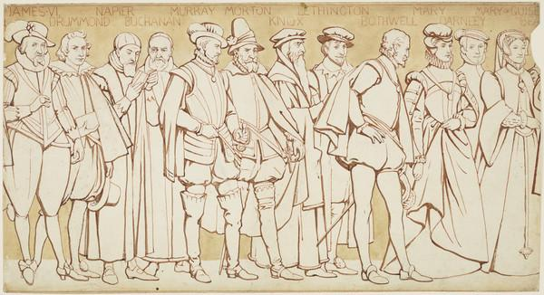 Scottish National Portrait Gallery; cartoons for processional frieze (James VI and I to Mary of Guise)