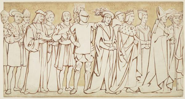 Scottish National Portrait Gallery; cartoons for processional frieze (From Cardinal David Beaton, Archbishop of St. Andrews, to Robert Boyd, Lord... (Drawn c 1898)