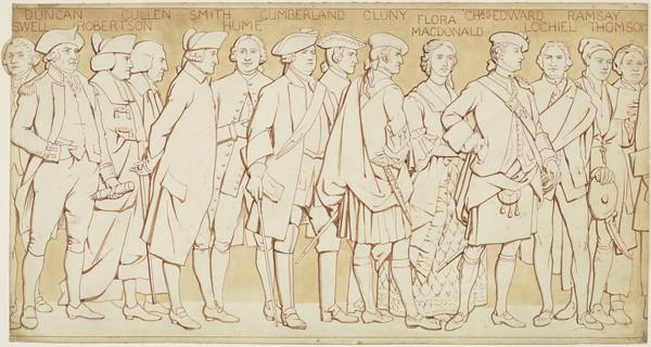 Scottish National Portrait Gallery; cartoons for processional frieze (From James Boswell to James Thomson) (Drawn c 1898)
