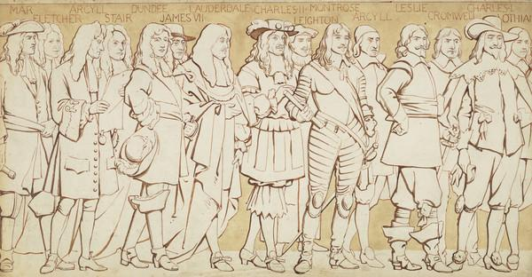 Scottish National Portrait Gallery; cartoons for processional frieze (From John Erskine, 6th Earl of Mar, to William Kerr, 1st Earl of Lothian) (Drawn c 1898)