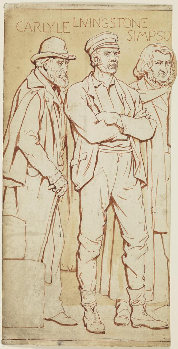 Scottish National Portrait Gallery; cartoons for processional frieze (Thomas Carlyle, Livingstone and Simpson) (Drawn c 1898)