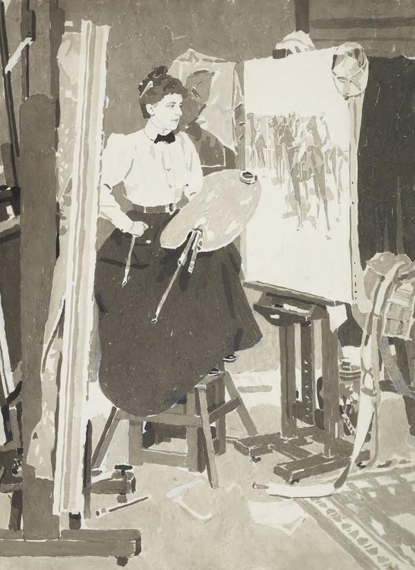 Mary Cameron, fl. 1886 - 1918. Artist (In her studio) (1898)