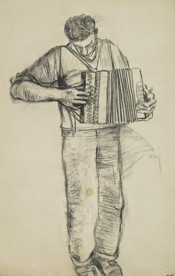 Young Man Playing an Accordion