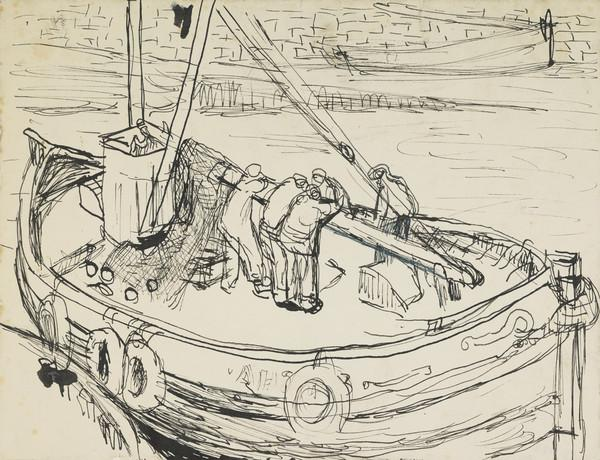 Crew in a Fishing Boat in a Harbour, Arbroath