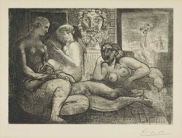 Quatre femmes nues et tete sculptee [Four Nude Women and Sculpted Head (from 'The Vollard Suite', no. 82)] (Dated 1934)