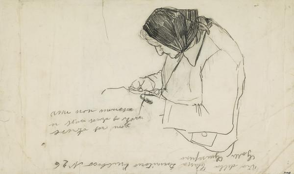 Old Italian Woman Sewing [verso: Horse with Nosebag and Blanket]