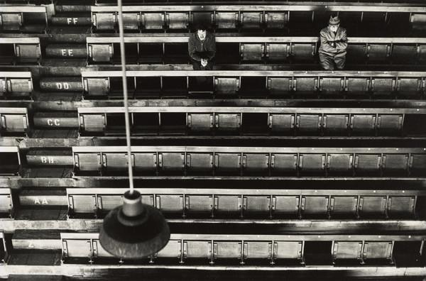 Hampden Park Football Ground, Two Men Seated (early 1970s)