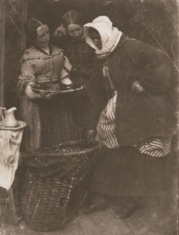 Mrs Barbara (Johnstone) Flucker and two unknown women looking at fish [Newhaven] (1843 - 1847 (print 1991))