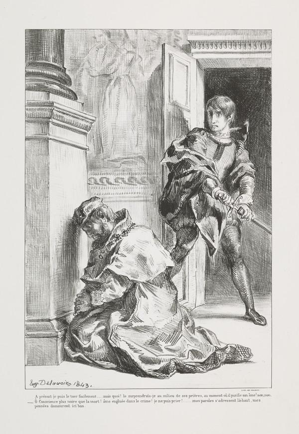 'Hamlet Tente de Tuer le Roi' (Hamlet Hesitates in Killing the King) (Act III, Scene III) (Delteil No. 110) (Published 1864)