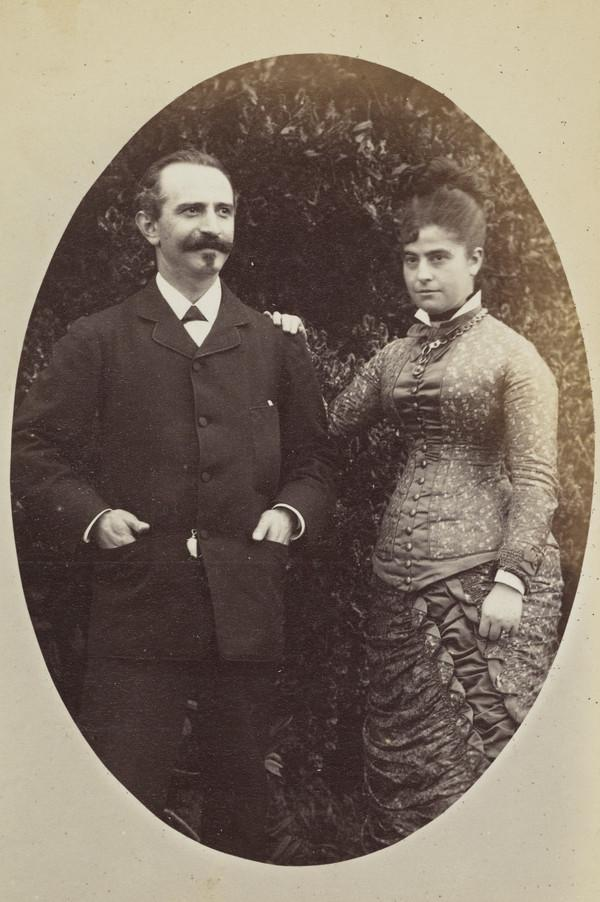 'Mr and Mrs Trankel', 3/4 length portrait in masked oval at Invertrossachs 1880 (1880)