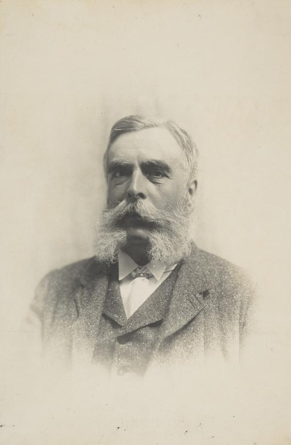 Unknown man with moustache and side whiskers (vignetted portrait)