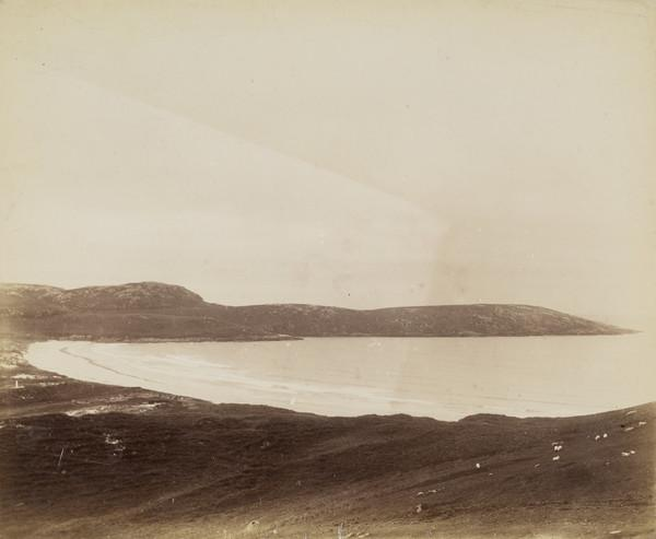 Scottish landscape - View across a bay may relate to a voyage to St Kilda