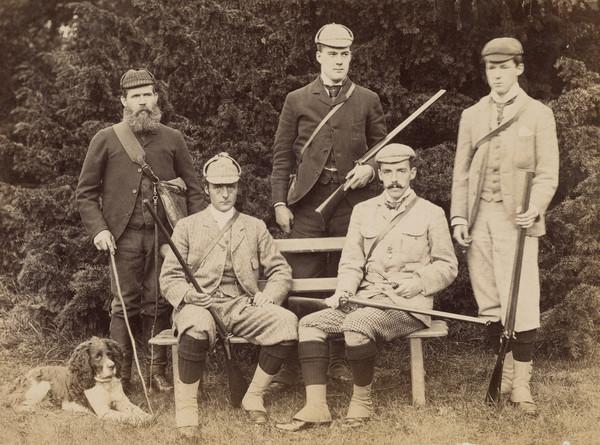 Boyd Family - 5 men, 4 presumably sons of Sir John Boyd, with guns. 1 may be Gamekeeper