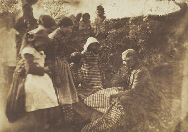 Pedlar Showing Gingham Cloth to a Group of Countrywomen and Children (About 1852)